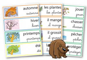 L'ours etiquettes mots