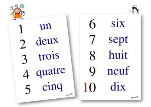Affiches nbres en lettres 1 a 10