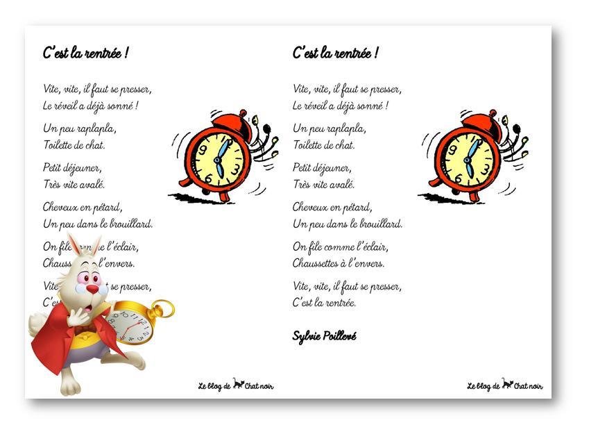 Super Des poèmes pour la rentrée – Le blog de Chat noir TL44