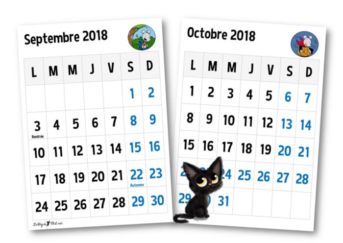 Mini Calendrier 2019 A Imprimer.Calendrier 2018 2019 Le Blog De Chat Noir